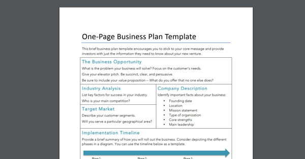 one page business plan template for sme