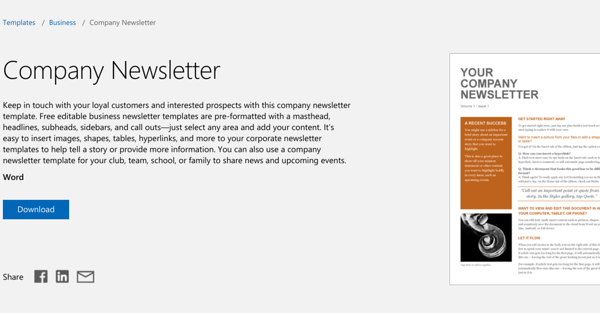 company newsletter by microsoft for small businesses