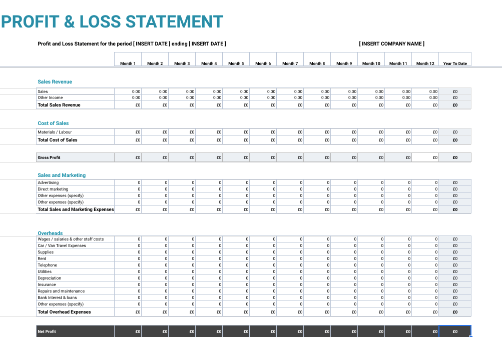 This is a photo of Printable Profit and Loss Forms throughout service business